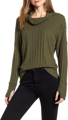 Loveappella Loveapella Pointelle Ribbed Cowl Neck Top
