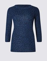 Marks and Spencer Animal Print High Neck Sweat Top
