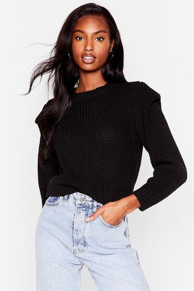 Nasty Gal Womens Good Meets Shoulder Pad Knitted Crew Neck Sweater - Black