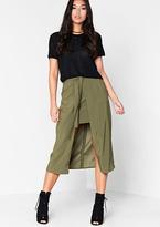 Missy Empire Sora Khaki Overlay Midi Skirt