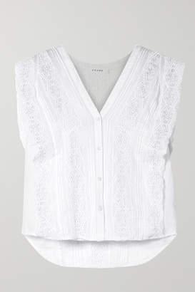 Frame Crochet-trimmed Ramie Shirt - White