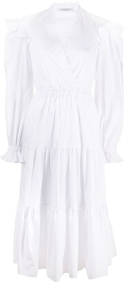 Philosophy di Lorenzo Serafini Lace-Trimmed Tiered Skirt Dress