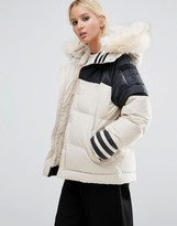 adidas Block Padded Jacket With Faux Fur Trim