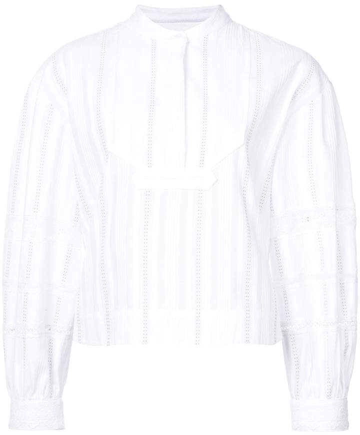 Derek Lam Cropped Tuxedo Shirt With Lace Insets