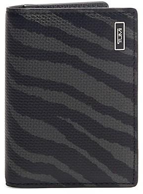 Tumi Tiger-Print Leather Folding Card Case