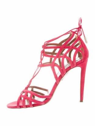Aquazzura Suede Cutout Accent Sandals Pink