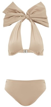 Fendi Bow Halterneck Bikini - Beige