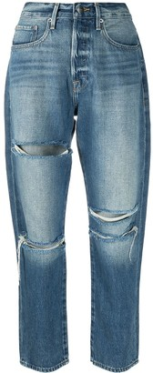 Frame High-Rise Ripped Straight-Leg Jeans