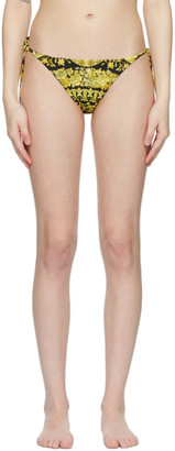 Versace Underwear Black and Yellow Barocco Bikini Bottoms