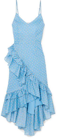 LoveShackFancy Maya Ruffled Printed Cotton Dress - Blue