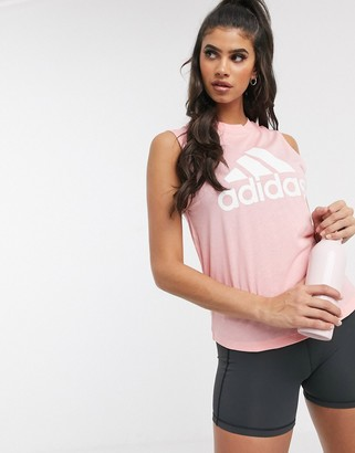 adidas Training tank with large logo in pink