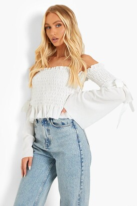 boohoo Woven Shirred Flared Sleeve Off The Shoulder Top