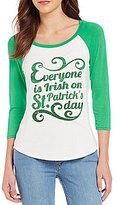 Moa Moa Everyone Is Irish On St. Patty's Day Graphic 3/4-Sleeve Knit Raglan Tee