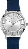 GUESS GVSS5) Men's Quartz Watch with Silver Dial Analogue Display and Blue Leather Bracelet W0795G4