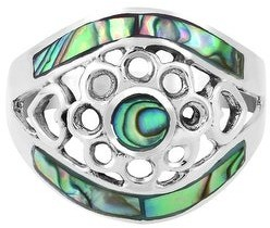 Aeravida Handmade Hidden Eye Ornate Circles Abalone Shell Inlay Sterling Silver Ring