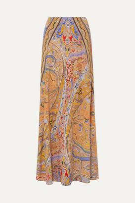 Etro Paisley-print Silk Crepe De Chine Maxi Skirt - Peach
