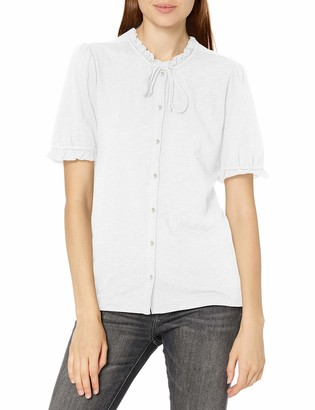 Lucky Brand Women's Short Sleeve High Neck Button Down Top