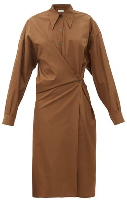 Lemaire Exaggerated-collar Cotton-poplin Wraparound Dress - Brown