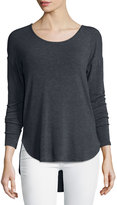 Three Dots Long-Sleeve Scoop-Neck Tee, Charcoal