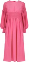 RED Valentino Shirred Long-Sleeve Midi Dress