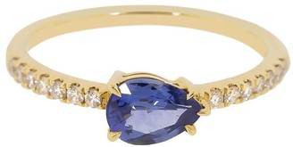 Anita Ko 18kt Yellow Gold Blue And White Diamond Ring