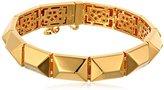 "Trina Turk Bauhaus Metal"" Gold-Plated Textured Stud Flex Bracelet"