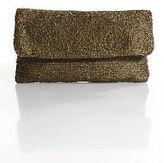 Moyna Bronze Beaded Flap Over Zipper Closure Clutch Handbag