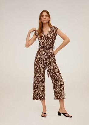 MANGO Tropical print jumpsuit chocolate - XS - Women