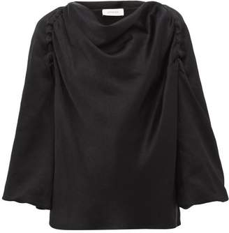 Lemaire Cowl-neck Satin Blouse - Womens - Black