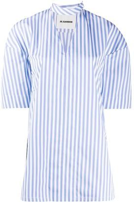 Jil Sander Side Slits Striped Blouse