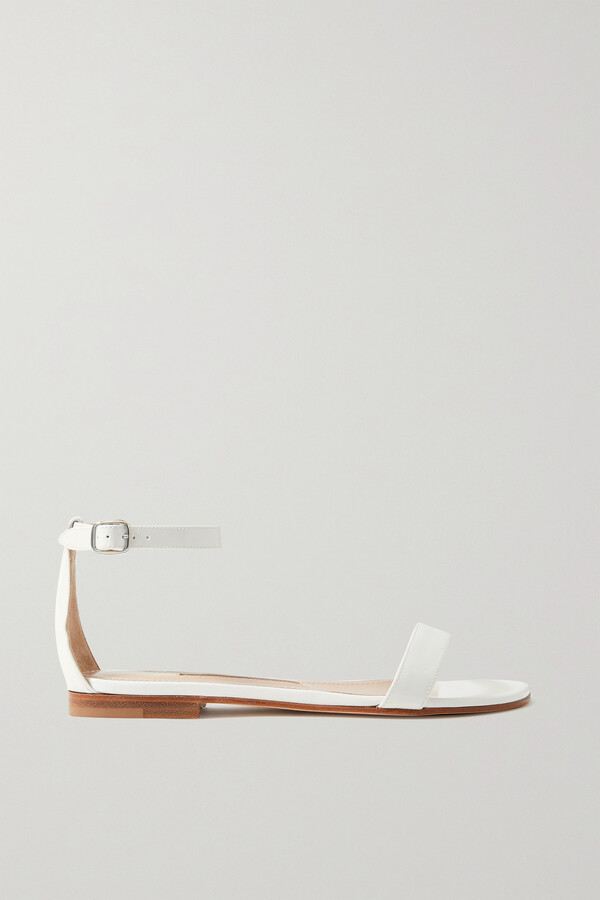 Manolo Blahnik Chafla Patent-leather Sandals - White