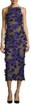 Jason Wu Halter-Neck Cocktail Midi Dress w/Floral Appliques, Black/Iris