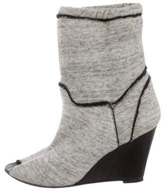 IRO Knit Peep-Toe Ankle Boot Wedges