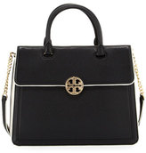 Tory Burch Duet Chain Convertible Satchel Bag, Black/New Ivory