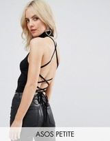 Asos Halter Top with Choker Neck & Strappy Lace Up Back
