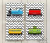 MuralMax -Chevron - Choo Choo The Train Wall Art Theme - Canvas Nursery Decor - Set of 4 - Size - 16 x 16