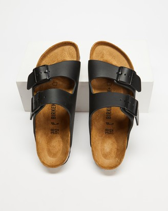 Birkenstock Women's Black Flat Sandals - Womens Arizona Smooth Leather Narrow Sandals - Size 35 at The Iconic