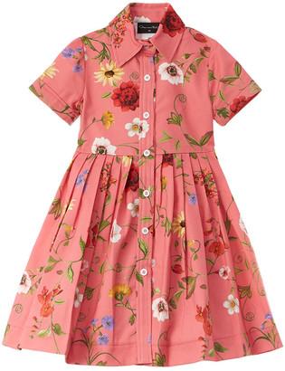 Oscar de la Renta Mixed Botanical Dress