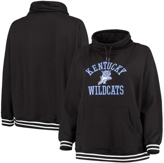 Women's Black Kentucky Wildcats Plus Size Long Weekend Cowl Neck Pullover Sweatshirt