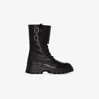 Miu Miu Black Leather Combat Boots