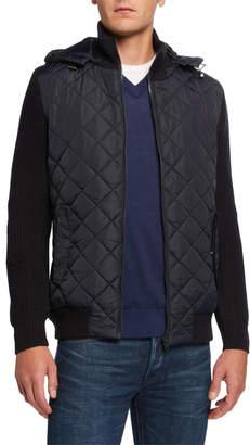 Neiman Marcus Men's Mixed-Media Diamond Quilted Hoodie Jacket
