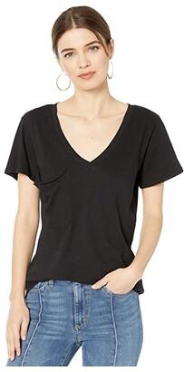 bobi Los Angeles V-Neck Pocket Tee in Lightweight Jersey (Black) Women's Clothing