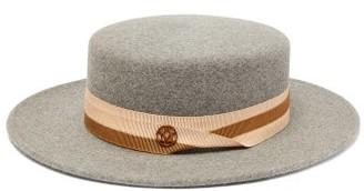 Maison Michel Kiki Felt Boater Hat - Grey