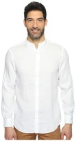 Perry Ellis Long Sleeve Solid Banded Collar Linen Shirt Men's Clothing