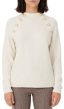 Maje Marnet Gold Tone Button Sweater