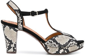 Chie Mihara snakeskin effect T-bar sandals