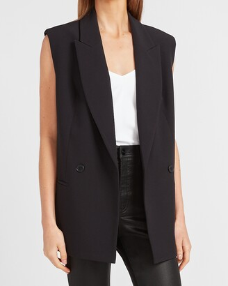Express Supersoft Sleeveless Double Breasted Blazer
