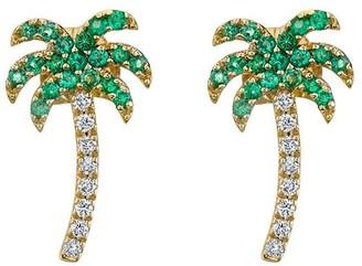 Sydney Evan 14kt yellow gold diamond Palm Tree stud earring