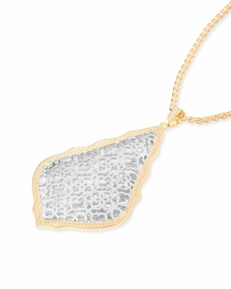 Kendra Scott Aiden Pendant Necklace for Women in Mixed Metal Filigree Fashion Jewelry 14K Rhodium-Plated