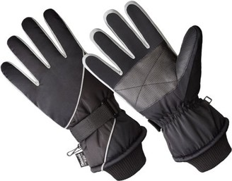 Hands OnTM SK1012-OSFM, Men's Premium Ski Glove, 40 gm 3M Thinsulate Lined, Black/Grey (One Size Fits Most)